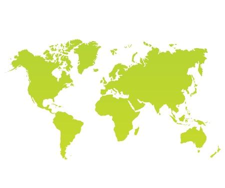 白い背景上に現代の色世界地図