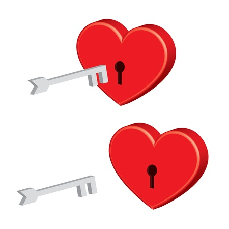 padlock heart with key Vector