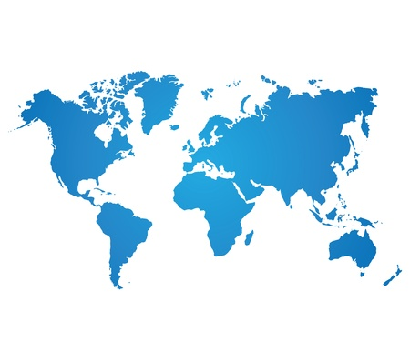 blue world map on white background Vector