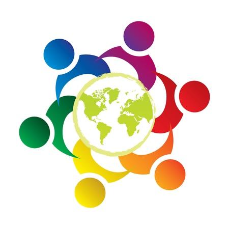 vector el trabajo en equipo Unión personas en el mundo