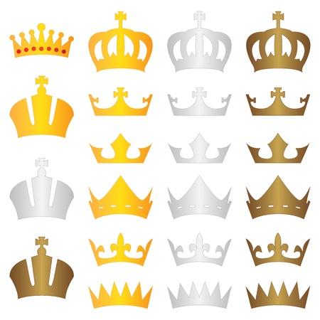 corona reina: corona del rey del oro de plata de bronce Vectores