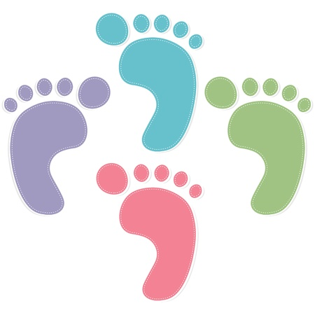 foot path: foot prints color on white background Illustration