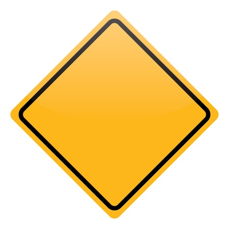 road signs: blank yellow warning sign isolated