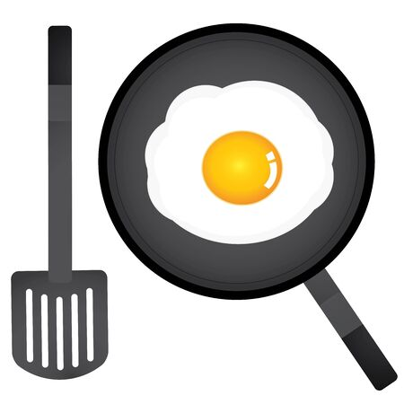 vector fried egg in a pan and spatula Vector