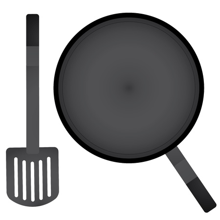 commercial kitchen: vector a pan and spatula Illustration