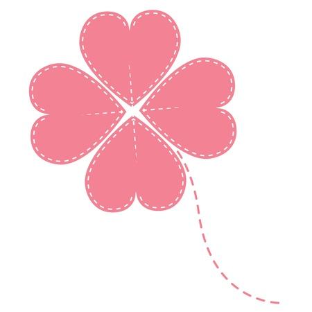 fortunate: vector pink clover four leaf
