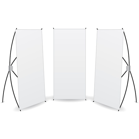 pack banner x-stands display isolated Illustration