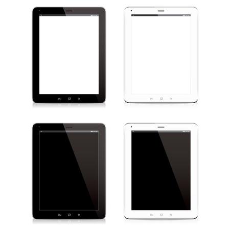 스마트 폰 태블릿 컴퓨터 검은 색과 흰색 격리 된 vecter 일러스트