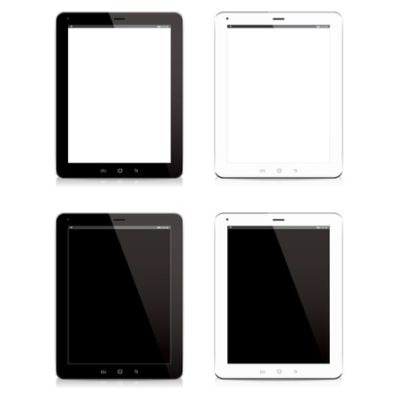 tablet: smart phone tablet computer black and white isolated vecter Illustration