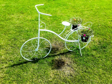 white bicycle standing on green meadow Stock Photo - 21576418