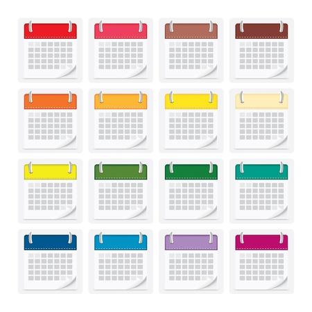 icon pack calendar isolated background Illustration