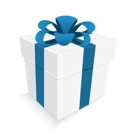 blue ribbon and white gift box isolated Vector