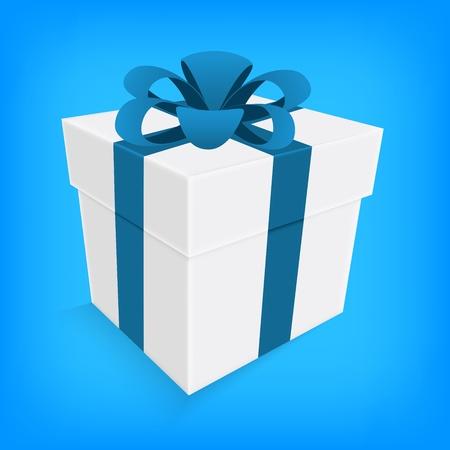 Blue Box ruban et blanc cadeau isolé