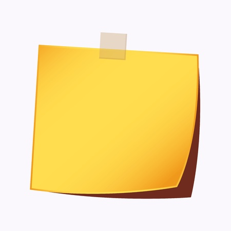 blank note tag: paper note gold color Illustration