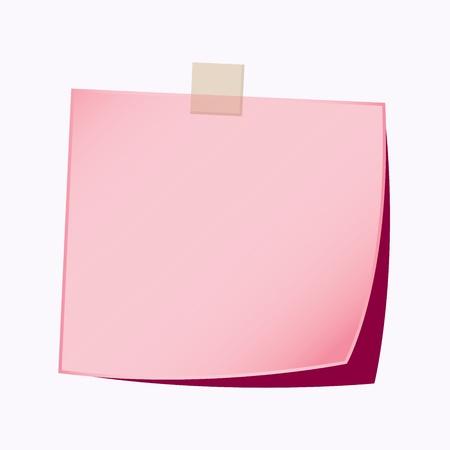 paper note pink color Vector Illustration
