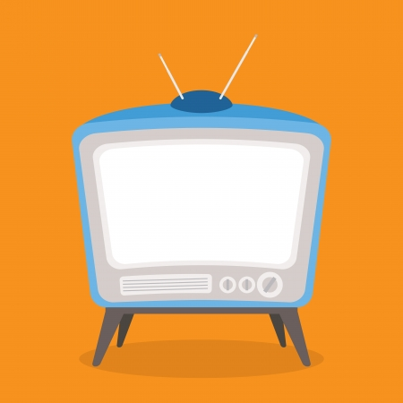 vector vintage tv blue color isolated Illustration