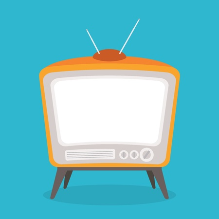 vector vintage tv orange color isolated Stock Vector - 21759844