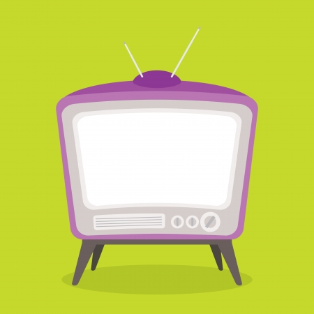 vector vintage tv purple color isolated Stock Vector - 21759850