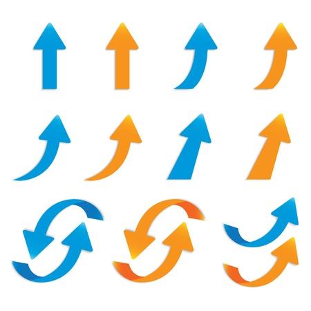 flechas curvas: vector populares paquete Conjunto de botones flecha aislada