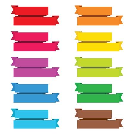 popular color pack ribbon paper vintage label banner isolated vector Illustration