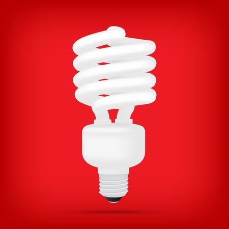 bombillo ahorrador: Las lámparas fluorescentes compactas populares blanca ahorro de energía bombilla vector aislado realista