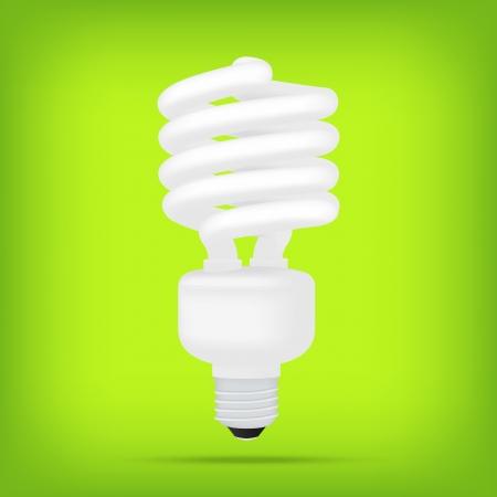bombillo ahorrador: lámparas ecológicas populares verdes fluorescentes compactas de ahorro de energía blanco bombilla vector aislado realista