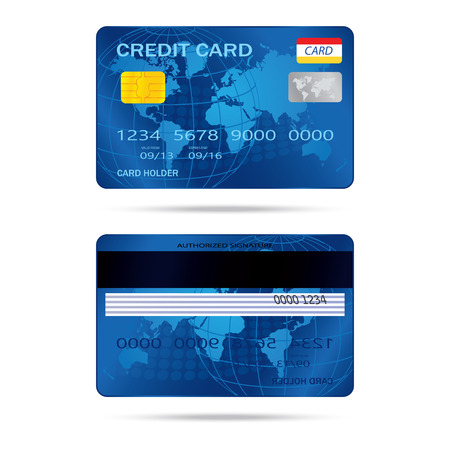 popular blue premium extended business credit card isolated   イラスト・ベクター素材
