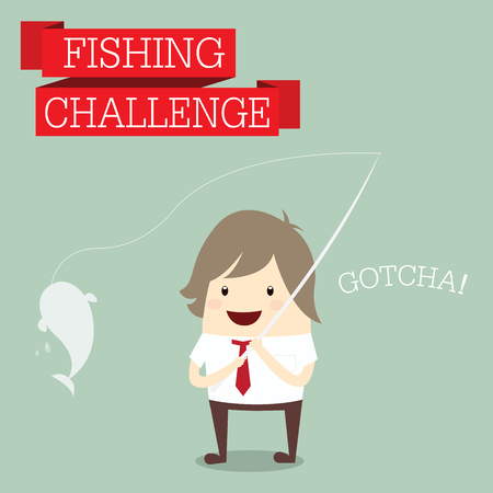 businessman relaxing and catching fish with words fishing and challenge , business concept Vector