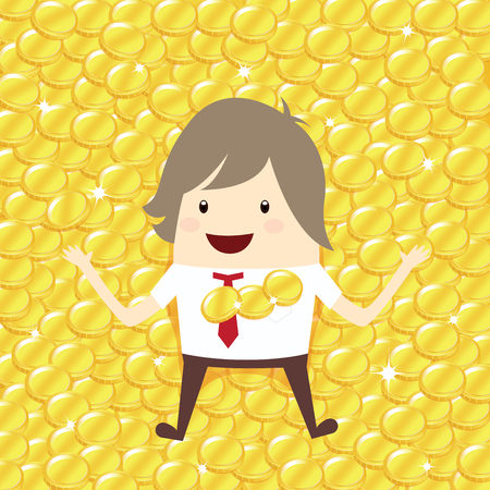 lie down: happy businessman is lie down relaxing with gold coin penny stack, business concept