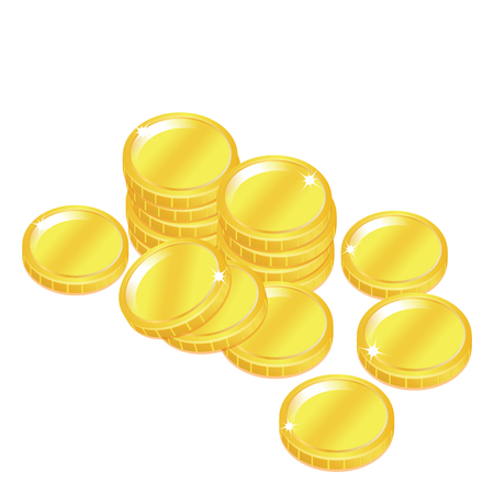popular gold coin penny stack isolated background Stock Vector - 22362646