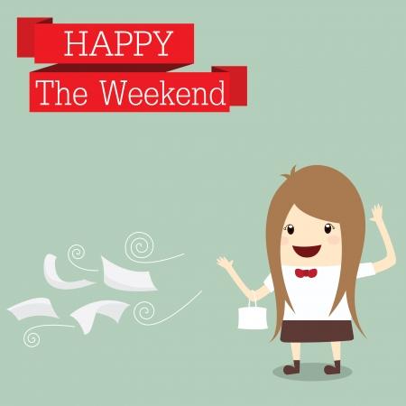 good break: empresaria es ir de compras feliz en el fin de semana tiempo de relax despu�s del trabajo duro, concepto de negocio