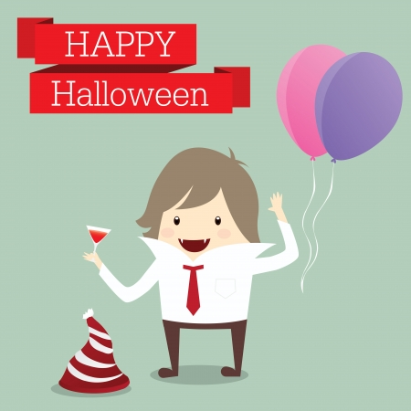 businessman is lord of vampire happy halloween day party event relax time after work hard, business concept Vector