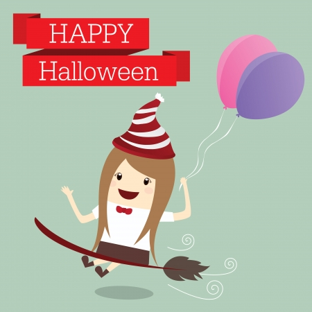 businesswoman is princess of witch happy halloween day party event relax time after work hard, business concept Vector