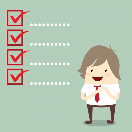 businessman is planning with popular checklist symbol right mark isolated, business concept Vettoriali