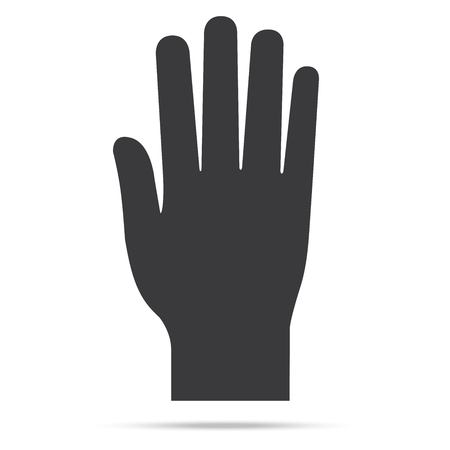 participate: popular raise black color left hand up isolated vector Illustration