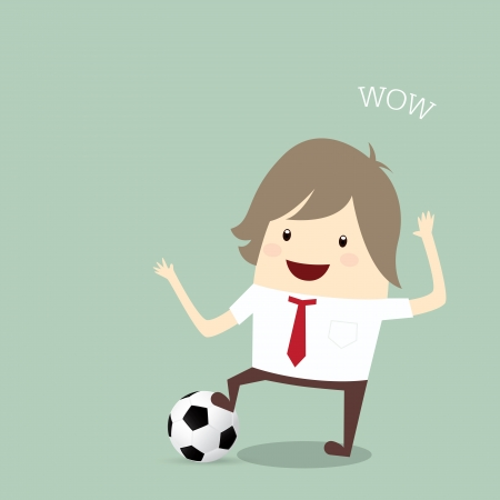 businessman happy is playing soccer relax idea and inspiration, business concept Illustration