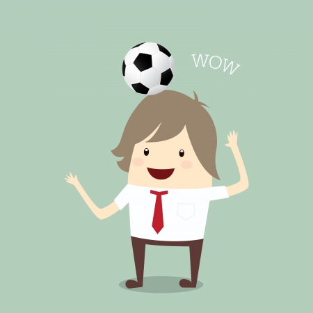 businessman happy is playing soccer relax idea and inspiration, business concept Stock Vector - 22593457