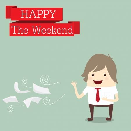 after to work: Empresario es feliz en el fin de semana tiempo de relax despu�s del trabajo duro, concepto de negocio