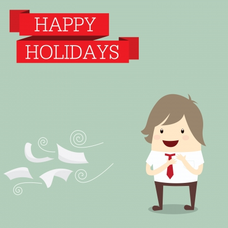 businessman is happy at the holiday relax time after work hard, business concept Vector