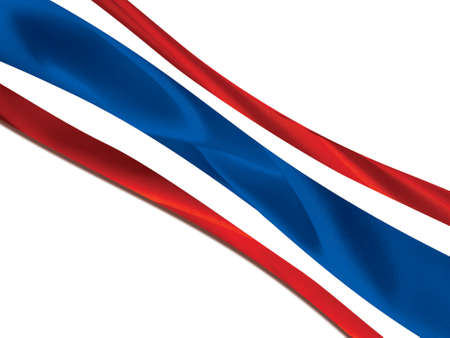 beautiful flag of thailand stream waft in the wind on isolated background Stock Photo