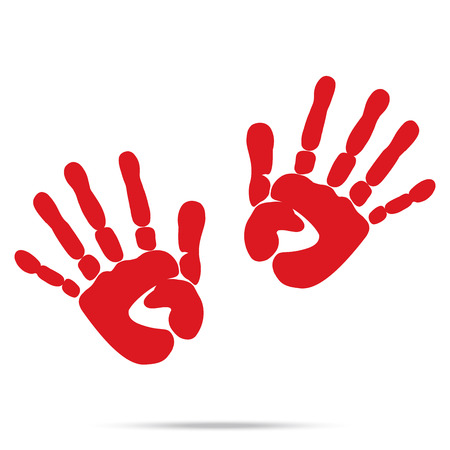 blood stain: popular scream red blood two handprints halloween isolated on white background vector