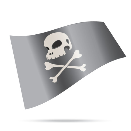 skull human pirate flag isolated Vector