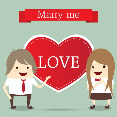 business man and woman with red heart married wedding invitation isolated Vector