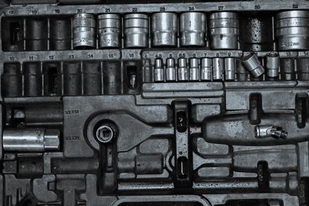 car repair shop: kit box of metal work tools in auto car repair shop