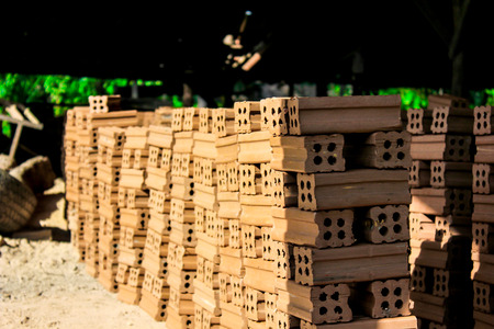brick kiln: brick kiln. collection set of red bricks stack in oven factory before logistic transportation Stock Photo