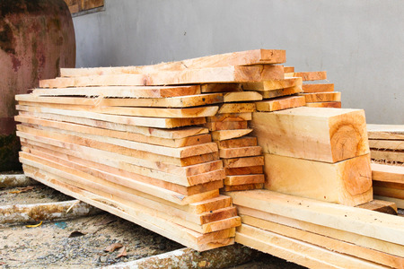 sawed: pile of sawed wood planks Stock Photo