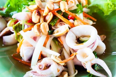 steam squid eggs salad with spicy lemon juice soup, samui thailand