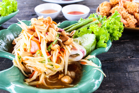 somtum green papaya salad with seafood, samui thailand photo