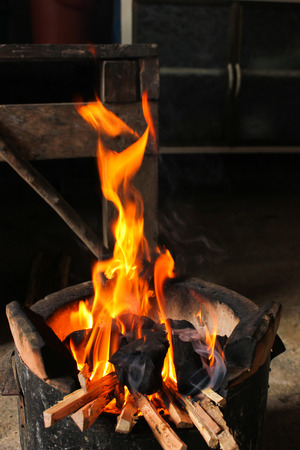 fire hot flame on stove charcoal for cooking photo