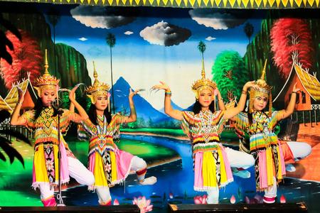 Thailand - November 6 :group of women show manora dance, folk-dance in the south of Thailand, Nakhon Si Thammarat on Noovember 6, 2014 in Thailand.